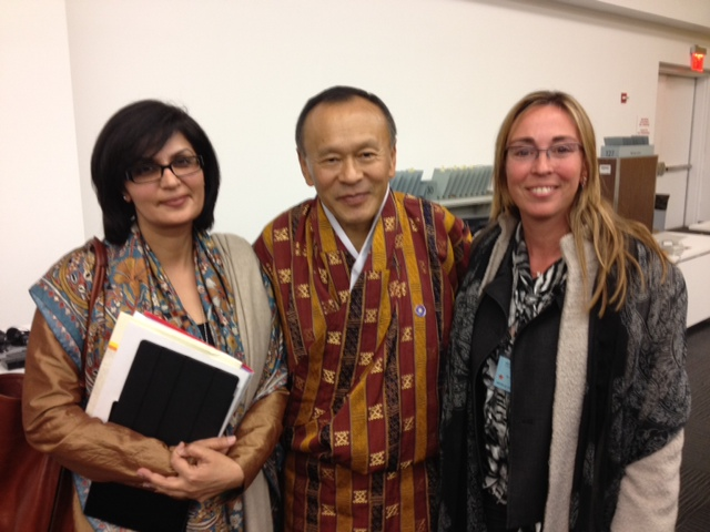 Sania Nishtar with Prime Minister of Bhutan in New York at the Happiness meeting at the UN