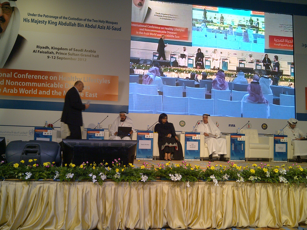 Sania Nishtar speaking in Riyadh at a WHO event
