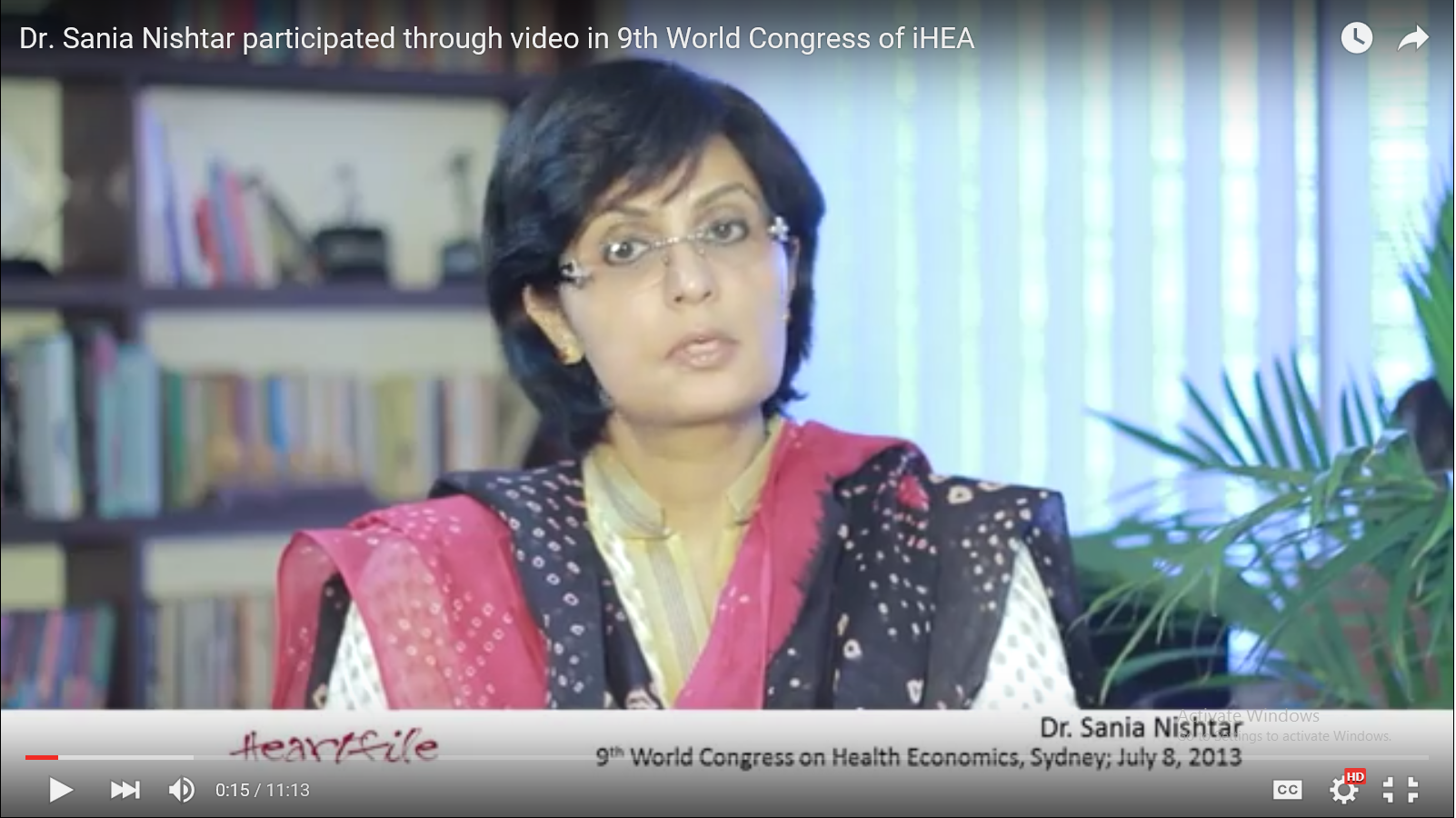 Sania Nishtar at the International Health Economics Conference, Australia