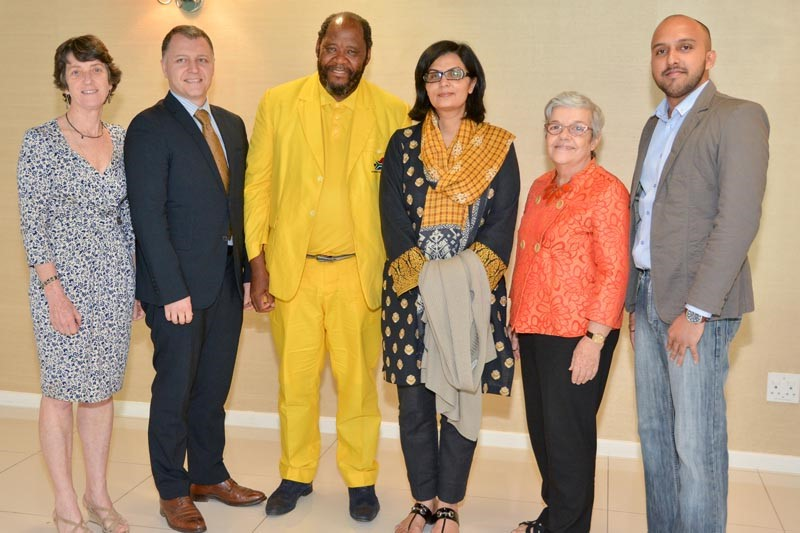 Sania Nisthar Chair of the IAP with five other members of the panel in Johannesburg