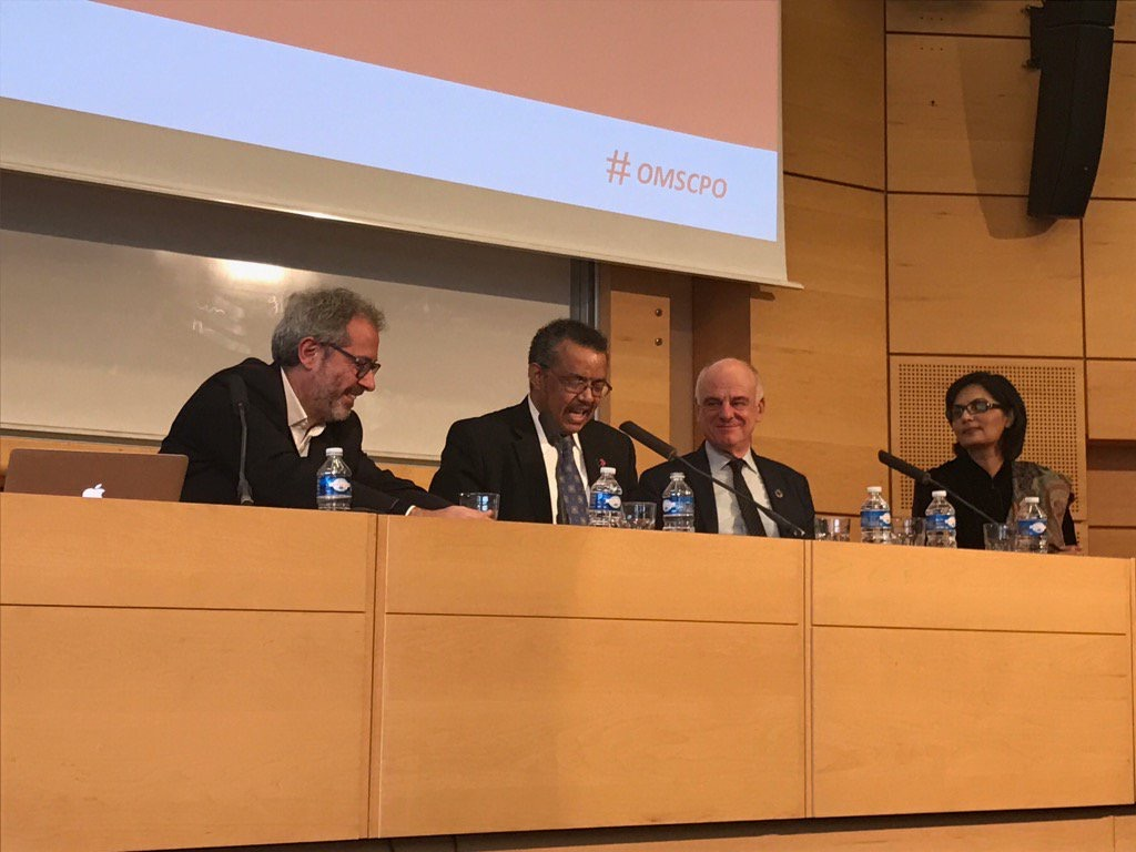 Sania Nishtar with the other two WHO DG nominees at Science Po I. Paris, February 2017